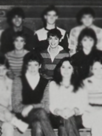 Cindy Crawford, 1984 Distributive Education yearbook photo (cropped) (Classmates.com)